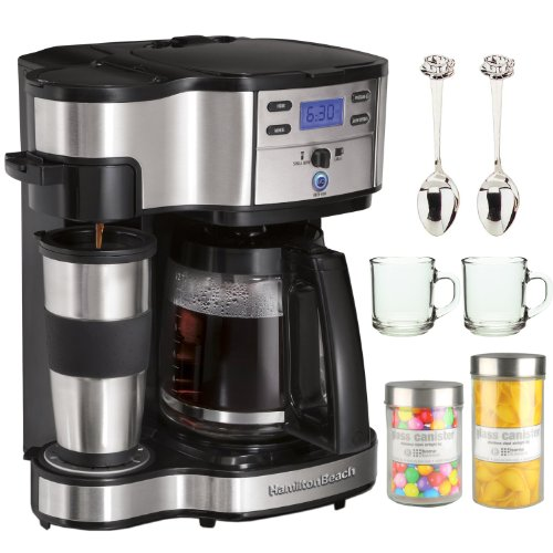 Hamilton Beach Two Way Brewer Single Serve & 12-Cup Coffee Maker + 2 Piece 10 oz. ARC Handy Glass Coffe Mug + 2 Piece 4.5