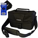 Canon Well Padded Compact Multi Compartment SLR Digital Camera Gadget Bag with Adjustable Shoulder Strap + HeroFiber® Ultra Gentle Cleaning Cloth for Canon EOS 7D, 60D, 60Da, 70D, EOS Rebel SL1, T1i, T2i, T3, T3i, T4i, T5, T5i, XS, XSi, XT, & XTi Digital SLR Cameras