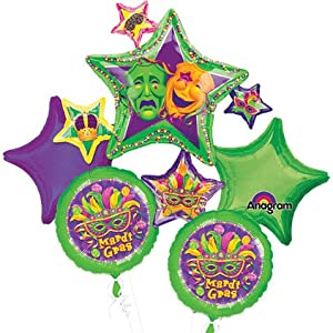 Mardi Gras Green Starburst Mylar Foil Balloon Bouquet