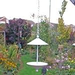White Finish Metal Hanging Bird Feede...