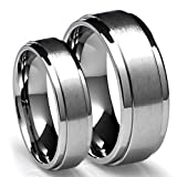 His & Hers 8MM/5MM Tungsten Carbide Brushed Finish Wedding Band Ring Set (Available Sizes 4-16 Including Half Sizes)