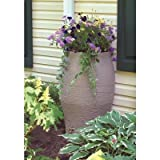 50 Gallon Sandstone Water Urn Flat-back Rain Barrel with Integrated Planter and Diverter Kit