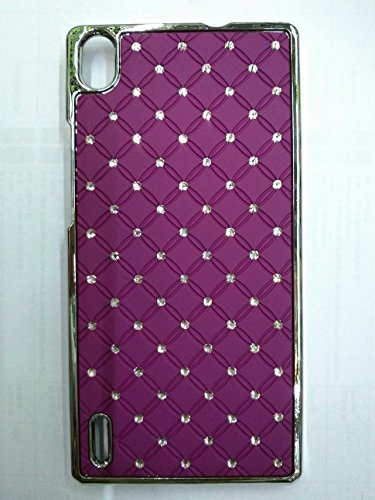 Maclogy 2014 Latest Fashion Design Luxury Dazzling Rhinestones Shiny Crystal Diamond Plating Protective Shell Trapped Difficult Cases Huawei P7 And Fashion Chain Crystal Ornaments Color Uv Radiation Gifts (Purple)