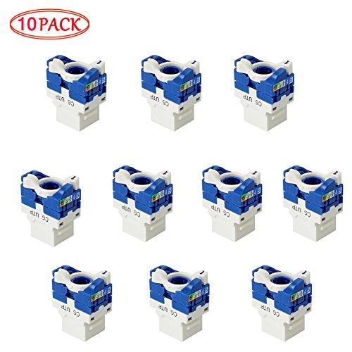 CAT6 Keystone Jack, MACTIS® RJ45 Accoppiatori Rotante No Punzonatura Non schermato In-Linea Cat 6 Modulo Ethernet (10 pcs, Blu Bianco)