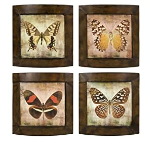 Set of 4 Decorative Antique Framed Butterfly Wall Art Decor Plaques