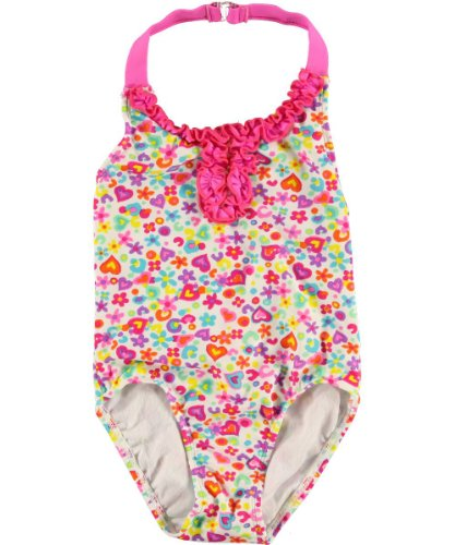 "Beach Native Little Girls' Toddler ""Ruffle Bloom"" 1-Piece Swimsuit - Pink/Multi, 2T front-831886"