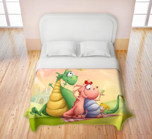 Duvet Cover Fleece Microfiber Toddler, Twin, Queen, King From Dianoche Designs By Artist Toosh Toosh Home Decor And Bathroom Ideas - Dragon Picnic
