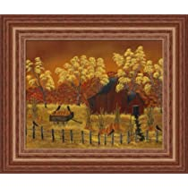 Pumpkin Harvest by Phyllis Spaw Country Autumn Landscape Art Print Framed