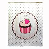 New Cute White Polka Dot Strawberry Cup Cake Shower Bath Curtain with Hanging Rings