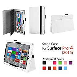 Elsse for Surface Pro 4 - Premium Folio Case with Built in Stand for Microsoft Surface Pro 4 - White