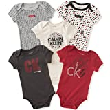 Calvin Klein Baby Boys' 5 Pack Assorted Bodysuits, Red/Black, 6-9 Months