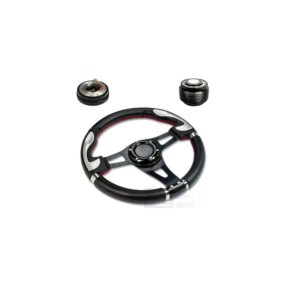 """SW T340+HUB OT48+QL 2, 320mm 12.5"""" Black PVC Leather Red Stitch Silver Trim Black Spoke 6 Hole Racing Aluminum Steering Wheel with OT48 Short Hub Adapter and 2"""" Slim Quick Release with Horn Button Automotive"""