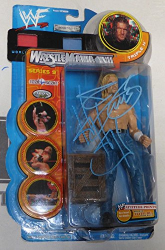 Triple H HHH Signed Jakks WWE Wrestlemania 17 Action Figure COA Auto'd - PSA/DNA Certified - Autographed Wrestling Cards