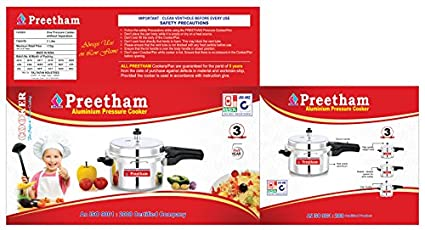 Preetham Aluminium 3 L Pressure Cooker (Induction Bottom, Outer Lid)