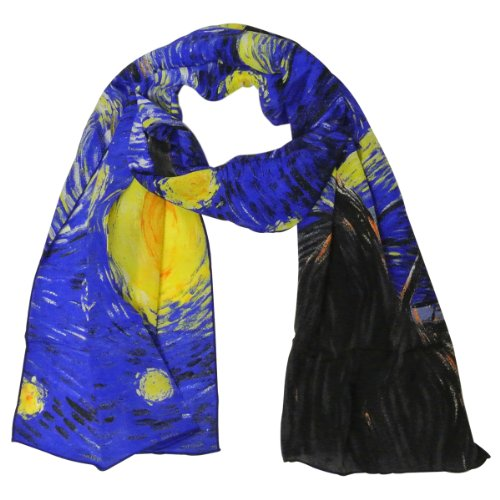 Allydrew Luxurious 100% Charmeuse Silk Long Scarf With Hand Rolled Edges, Van Gogh'S Starry Night front-90712
