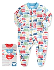 3 Pack Pure Cotton Car Sleepsuits