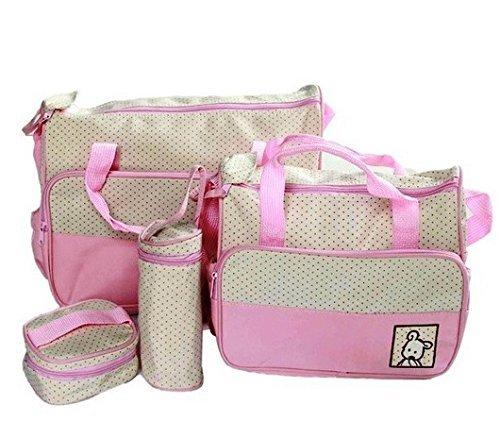 5pcs/set Baby Diaper Bag Nappy Mummy Bag Print Maternity Handbag Changing Baby Messenger Bag