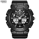 SMAEL SME36 Men's Sports Analog Digtal Wrist Watch Dual Quartz Movement Military Time Water Resistant with Backlight (Black-Grey) (Color: Black-Grey, Tamaño: 17mm)