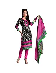Sonal Trendz Black Color Pure Cotton Printed Dress Material.