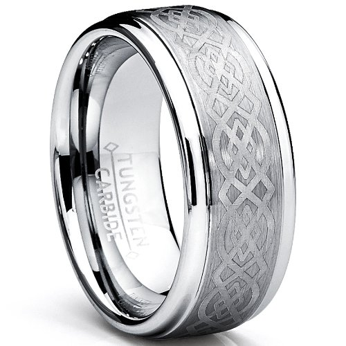 8MM Men's Tungsten Carbide Ring with Celtic Design size 12