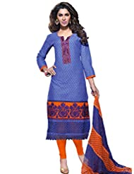 DivyaEmporio Women's Cotton Resham Salwar Suit Dupatta Unstitched Dress Material (Blue_Free Size) - B00UHEAMES