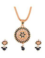 Ganapathy Gems Gold Plated Pandent Set With Green And White Stones With Chain