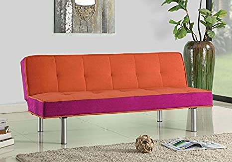 1PerfectChoice Hailey Comfort Simple Adjustable Sofa Bed Futon Flannel Fabric Color Orange & Pink Metal Leg