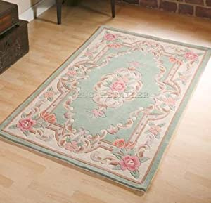 Chinese Wool Rugs In Green Handmade Traditional Aubusson Design 120x180cm or 4'x6'