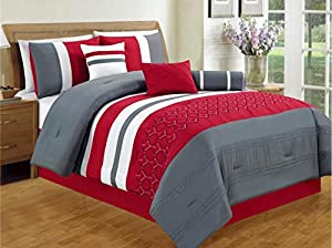 7 Pieces Luxury Red, White, Grey Striped Comforter Set / Bed-in-a-bag Queen Size Bedding