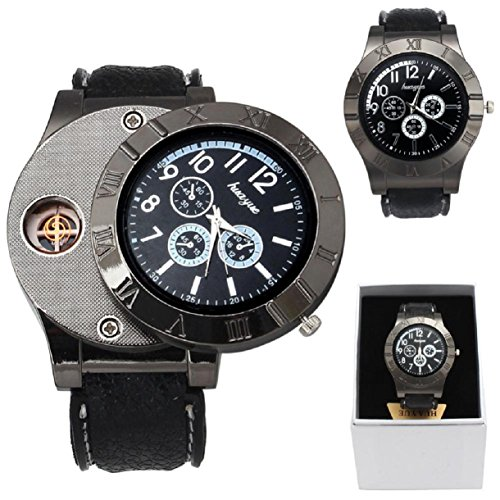 Lookatool Windproof Casual Military Quartz Watch USB Cigarette Cigar Flameless Lighter