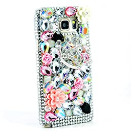 Samsung Galaxy S6 Case, Sense-TE Luxurious Crystal 3D Handmade Sparkle Glitter Diamond Rhinestone Ultra Thin Clear Cover with Retro Bowknot Anti Dust Plug - Silver Crown Flower / Colorful