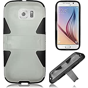 HR Wireless Samsung Galaxy S6 - Dynamic PC + TPU Fused Hybrid with Kickstand - Carrying Case - Retail Packaging - Clear PC/Black TPU