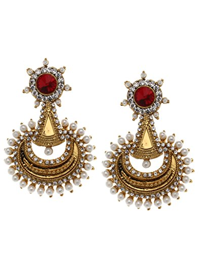 Bindhani Traditional Faux Pearls Red Chandbali Earrings For Girls (Chand Bali)  available at amazon for Rs.187