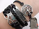 Infinity Silver Karma Wish Tree Best Friend Love Black Rope Leather Bracelet