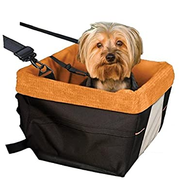Kurgo Skybox Dog Booster Seat for Cars with Seat Belt Tether, Black/Orange - Lifetime Warranty