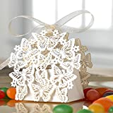 50 Pack Laser Cut Butterfly Wedding Favor Box Birthday Shower Party Candy Boxes Bomboniere