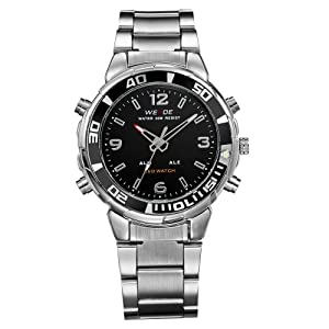 Mens Dress Watch Silver Metal Band Dual Time Analog Digital LED Sport Black Dial WH-158