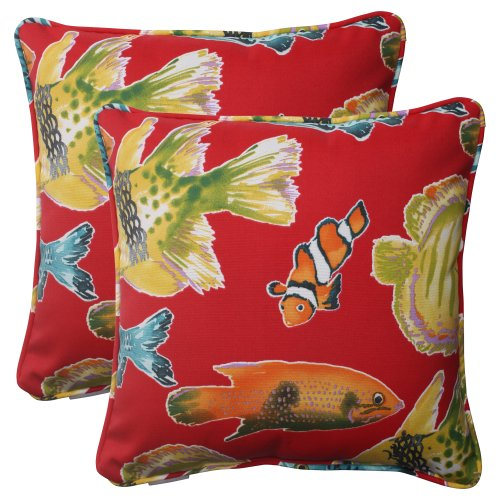 Pillow Perfect Indoor/Outdoor Kiley Corded Throw Pillow, 18.5-Inch, Sunset, Set of 2