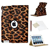ICHOOSE 360 Rotating Case/Cover for Apple iPad Air 2 (2nd Generation iPad AIR) New Premium PU Leather 360 Degree Rotating Smart Case Stand Rotation Swivel Cover with Free Screen Protector & Stylus Pen - LEOPARD