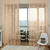 Generic Flocking Sheer Curtain Panel Window Balcony Tulle Divider Beige 100*200cm