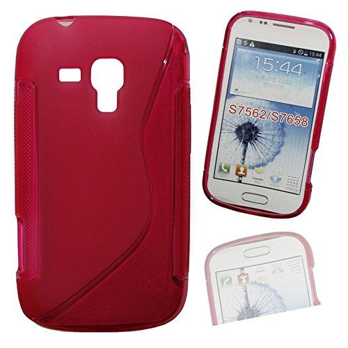 Silikon Case Hülle Etui Handytasche Handykondom Back Cover in pink für Samsung Galaxy Trend GT-S7560 / S Duos GT-S7562 / Plus GT-S7580 / S Duos 2 GT-S7582 inkl. World-of-Technik Touchpen