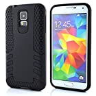 Meaci® Cellphone Case for Samsung Galaxy I9600 S5 Soft Cover/case 2 in 1 Combo Hybrid Defender High Impact Body Armorbox Hard Pc&silicone Protective Bumper (Black)