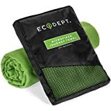 Large Microfiber Towel by ECOdept for Travel and Sports ~ FREE Hand Towel ~ Fast Drying and Super Compact ~ Antibacterial to Stay Fresh ~ Soft and Lightweight ~ #1 Rated for Backpacking, Camping, Beach, Gym, Swimming ~ with Gift Box