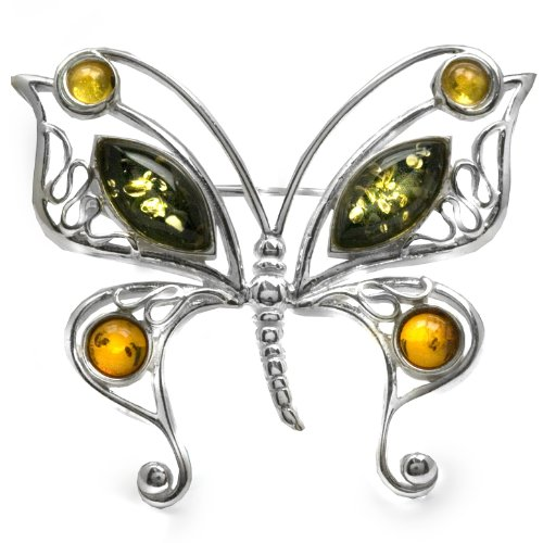 Sterling Silver Multi-Color Amber Butterfly Pin