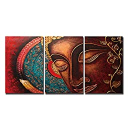 Shuaxin Religion Modern Large Buddha Wall Art Print on Canvas Home Living Room Decorations Wall Art 3 Panel 16x24inch (Framed Ready to Hang)