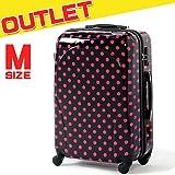 スーツケース 中型 Mサイズ 超軽量 ドット 水玉 (黒(ブラック))