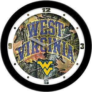 "West Virginia Mountaineers Suntime 12"" Camo Glass Crystal Wall Clock - NCAA College Athletics"