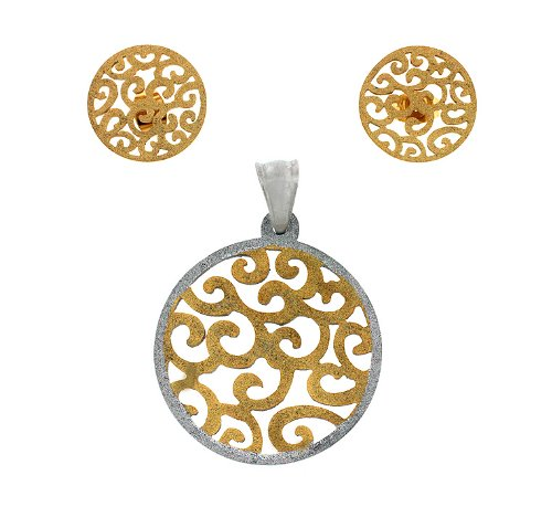 Ladies Two Tone Stainless Steel Shiny Designer Round Pendant And Earrings Fashion Set
