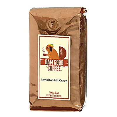 Dam Good Coffee - Jamaican Me Crazy - Taste of Jamaica via a Blend of Kahlua, Caramel & Vanilla - Whole Bean - Rich Body - Smooth & Flavorful - Bulletproof Coffee Ready - 12 Oz