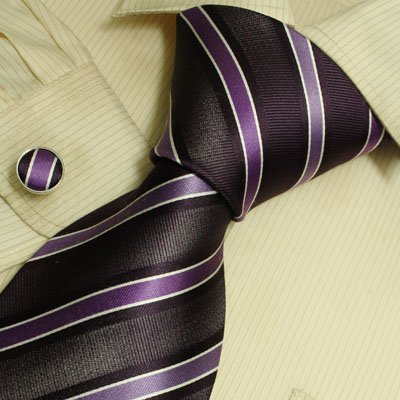 Purple stripes silk necktie cufflinks set birthday gifts man Italian style A2068